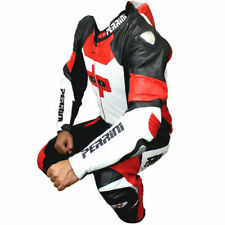 Perrini Men's 1-Piece Leather Street Racing Motorcycle Race Suit White/Red Black