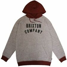 Brixton Barstow Pullover Hoodie Grey Burgundy