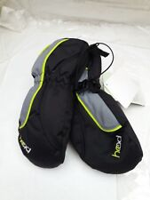 HEAD Thermal Ski Mittens Insulated Fur Lined Rubberised Palm Zips - Black & Grey
