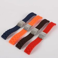 Silicone Rubber Watch Strap Band Deployment Buckle 16mm 18mm 20mm 22mm 24mm