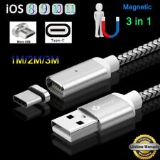 1m 2m 3m Magnetic Plug 3-IN-1/Type C/IOS/Micro USB/ Charging Cable W/Light Lot