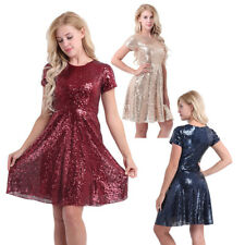 Womens Formal Sequined Bridesmaid Dress Lady Party Cocktail Skater A-Line Dress