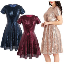 Women Lady Sequins Dress Formal Bridesmaid Party Cocktail Short Mini Dress Gown