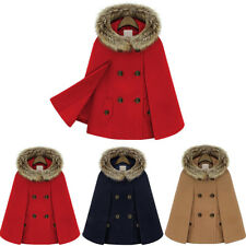 Damen Winter Wollmantel Warm Cape Poncho Wolle Mantel Kapuzenjacke Umhang Parka