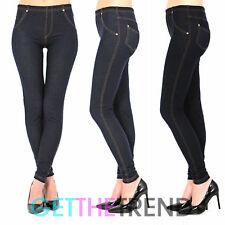 Mujer Talla Grande Cintura Alta Denim Look Azul Negro Jeggings vaqueros Leggings
