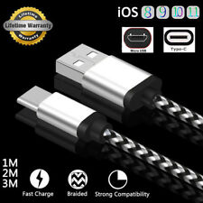 1M 2M 3M Nylon Braided USB Charger Data Sync Cable For Type-C Android iPhone 8 7