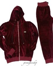 Time Is Money velluto Jogging Set, Super Star Hip Hop Tuta da uomo slim bordeaux