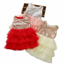 Kid Girl Evening Party Wedding Tulle Cake Dress Princess Sequins Bowknot Dress