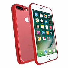Apple iPhone 7 PLUS ROSSO ultra sottile metallica CROMO TPU SILICONE