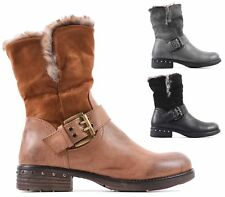 NEW LADIES FLAT COMBAT FUR MILITARY WORKER ZIP BUCKLE BIKER SHOES ANKLE BOOTS