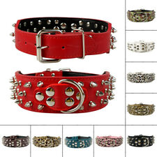 """2.0"""" Wide Cool Spiked Studded PU Leather Dog Collars for Pitbull Boxer Mastiff"""