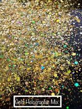 Gold Holographic Mixed Chunky Glitter for Nails - Face - Body - Make-up