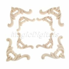 Unpainted Exquisite Wood Carved Corner Decal Onlay Applique Furniture Door Decor