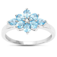 Sterling Silver Blue Topaz & Diamond Cluster Engagement Ring