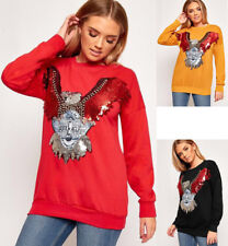 Womens Ladies Sequin Eagle Print Long Sleeve Sweatshirt Jumper Top UK 8-14