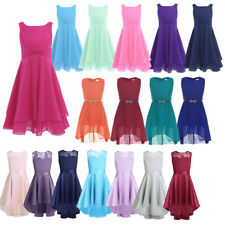 Kids Girls Floral Lace Dress Chiffon Ball Party Princess Pageant Wedding Recital