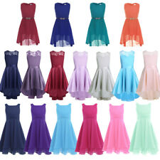 Girl Kid Flower Lace Dress Chiffon Ball Gown Princess Pageant Bridesmaid Wedding
