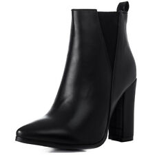 Womens Pointed Toe Block Heel Chelsea Ankle Boots