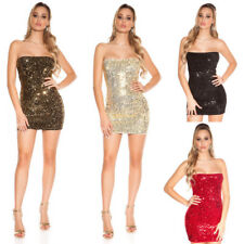 Tubino Glamour Party Strass Glitter Spalle Scoperte