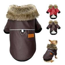 Waterproof Dog Leather Coat Fur Collar Clothes for Pets Winter Fleece Dog Jacket