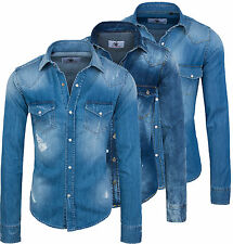 Rock Creek Hombre Camisa vaquera azul denim camiseta Regular Fit manga larga