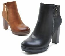 WOMENS LADIES CHELSEA CHUNKY BLOCK HEEL WINTER ANKLE GRIP SOLE SHOES BOOTS