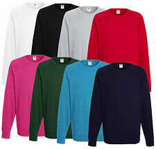 FRUIT OF THE LOOM HOMME légers Raglan Sweat DIVERS COULEURS S-XXL NEUF