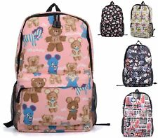 LADIES CANVAS BEARS FLOWER BACKPACK RUCKSACK SCHOOL LARGE COLLEGE UNI TRAVEL BAG