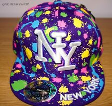 NY Spritzer enganliegende Kappe, Farbe Bling Flache Schirmmütze, HipHop Baseball