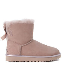 Stivaletto UGG Mini Bailey in pelle rosa con fiocco