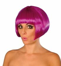 Womens Short Purple Wig with Fringe Bangs Ladies Hen Party fancy dress Cosplay