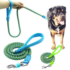 Reflective Dog Lead Clip Braided Rope Pet Walking Leash with Padded Handle 120cm