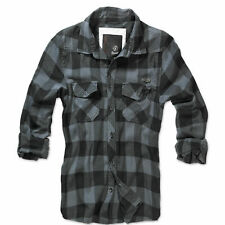 Camisa a cuadros Brandit Negra Gris s-7xl woodcutter casual