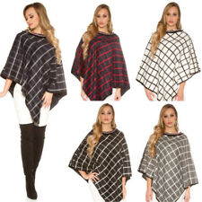 Poncho Donna Mantella Over Size a Quadri Bicolor