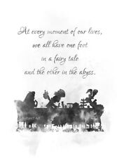 ART PRINT Alice In Wonderland Tea Party Quote, Gift, Mad Hatter, B & W, Decor