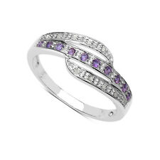 PLATA ESTERLINA AMATISTA Y DIAMANTE ETERNITY ANILLO TALLA KLNRSU ANIVERSARIO