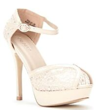 Womens Ladies Beige High Heel Ankle Strap Peep Toe Sandals Shoes Size UK 4,8 New