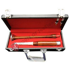 HS Scottish Great Highland Bagpipe Practice Chanter Brown,Black Silver Hard Case