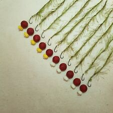 10 x WEED EFFECT HAIR RIGS LOADED WITH 15MM STRAWBERRY BOILIES FLYNSCOTMAN
