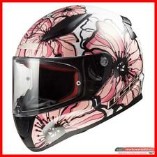 Ls2 Casco Moto Scooter Donna Integrale FF353 Rapid Poppies Bianco Rosa Fiori