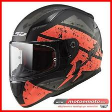 Ls2 Casco Moto Scooter Integrale FF353 Rapid Carrera Nero Arancio Orange