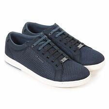 Ted Baker Men's Barces Textile Lace Up Casual Trainer Dark Blue