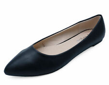 WOMENS BLACK SLIP-ON WORK FLAT SHOES DOLLY COMFY BALLET BALLERINA PUMPS UK 3-8
