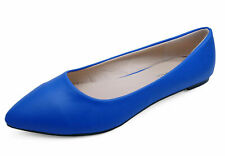 WOMENS BLUE SLIP-ON WORK FLAT SHOES DOLLY COMFY BALLET BALLERINA PUMPS UK 3-8