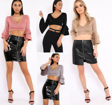 Womens Ladies Suede Ruffle Frill Sleeve Plunge Neck Shirt Crop Top Size UK 6-12