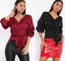 New Womens Ladies Satin Wrap Over Puff Sleeves Belted T Shirt Top Size UK 8-14