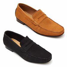 Mens Nubuck Leather Slip On Casuals Moccassins Loafers In Black And Tan Color