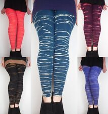 Bleach Dyed Tiger Leggings / Meggings Soft Stretch Yoga Pants New by Bare Canvas
