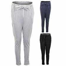 Womens Casual Office Knotted High Waist Straight Leg Stripe Peg Trousers Pants