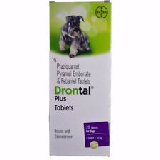 Drontal Plus Bayer Dewormer Roundworm and Tapewormer For Dog 8 Tablets Box free